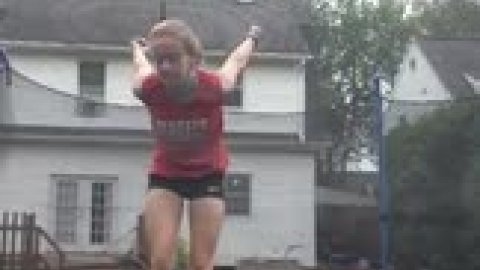 Working on my standing full on the trampoline!
